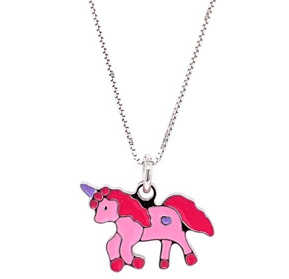 Pink Unicorn Sterling Silver Pendant
