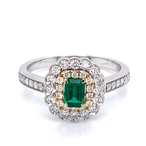 Emerald and Diamond,  Yellow & White 18ct Gold Ring