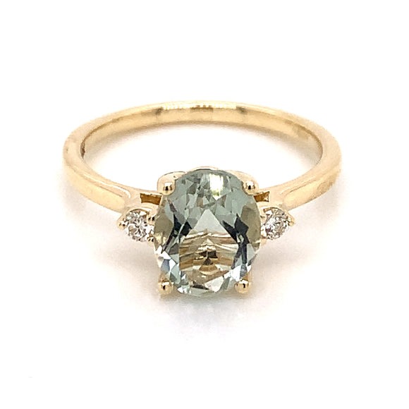 9ct Yellow Gold Green Amethyst And Diamond Ring