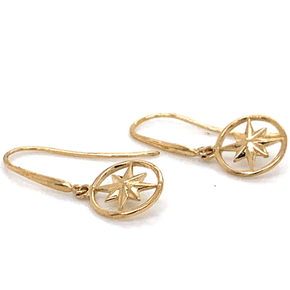 Star in Circle Drop 9ct Gold Earrings