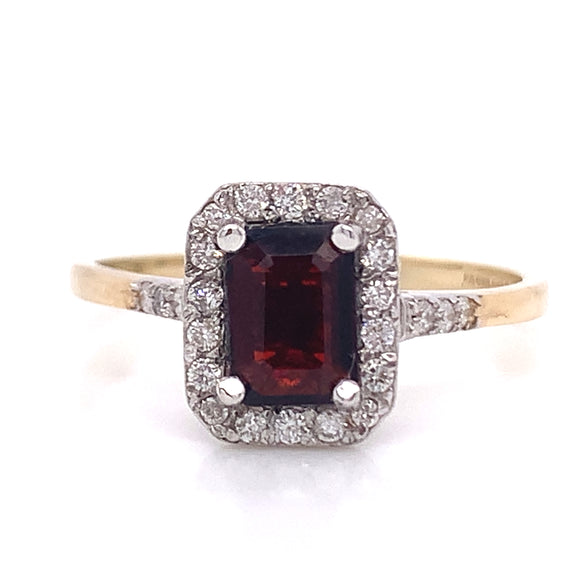 Emerald Cut Garnet and Diamond Halo
