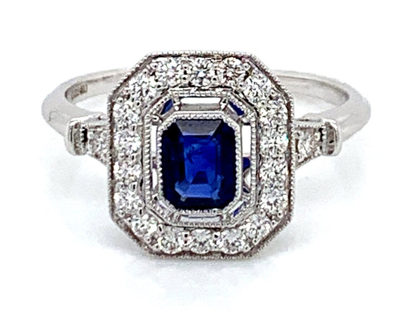 Emerald Cut Ceylon Sapphire & Diamond Vintage style White Gold Ring