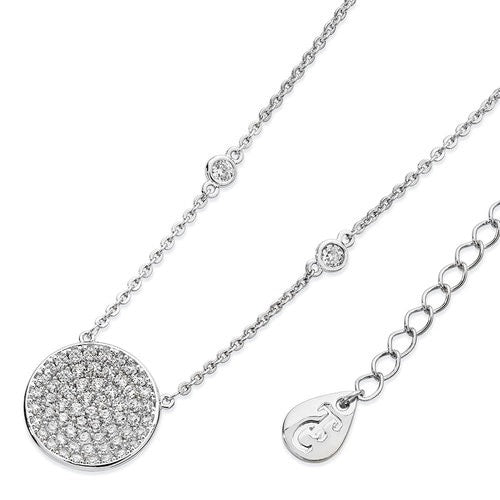 Tipperary Crystal Concave Pave Moon Pendant Silver