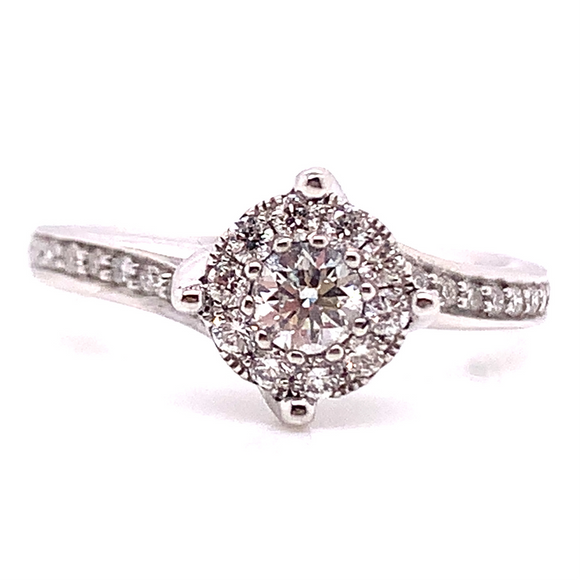 18ct White Gold Halo with Diamond Shoulder & Twisted Band Diamond Engagement Ring