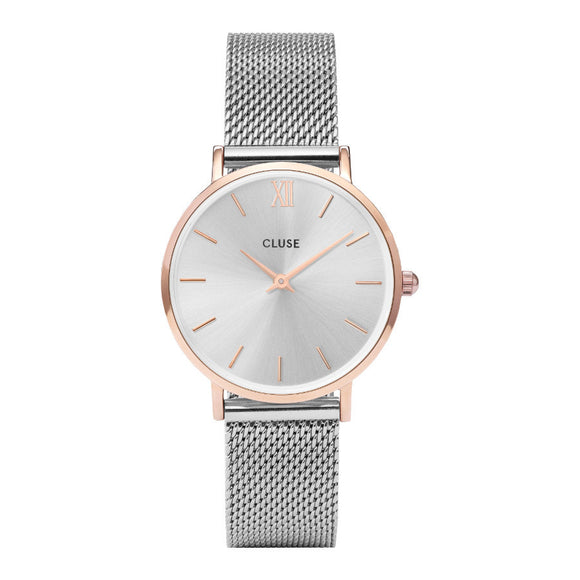 Cluse Minuit Mesh Rose Gold Silver/Silver CW0101203004