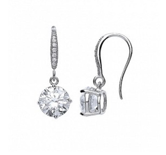 Sterling Silver Round Drop Cz Earrings