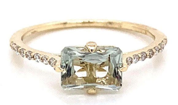 1ct  Horizontal Green Amethyst & Diamond Ring