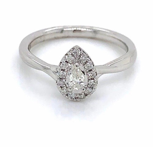 9ct White Gold Pear Halo Diamond Engagement Ring