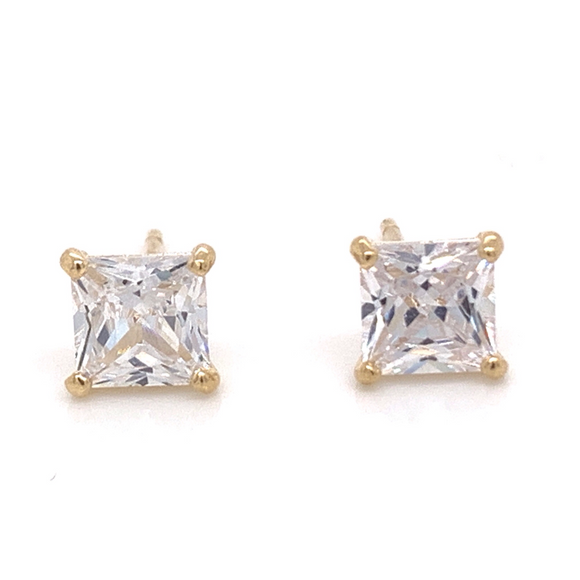 9ct Gold 4 Claw Princess Cut Cz Studs