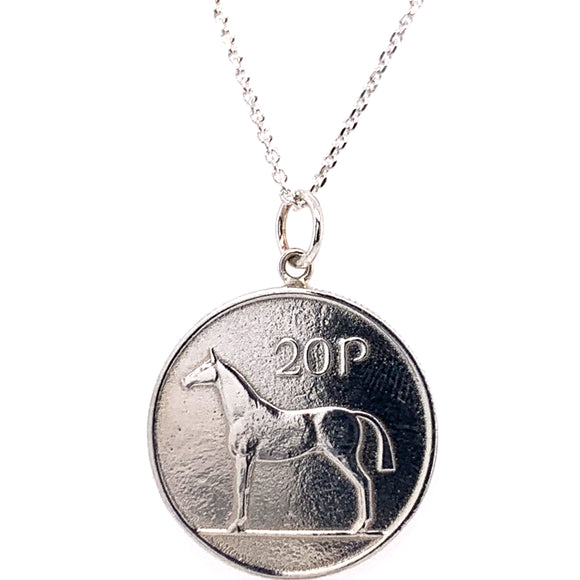 Tadgh Og Solid Sterling Silver Horse 20p Irish Coin Pendant