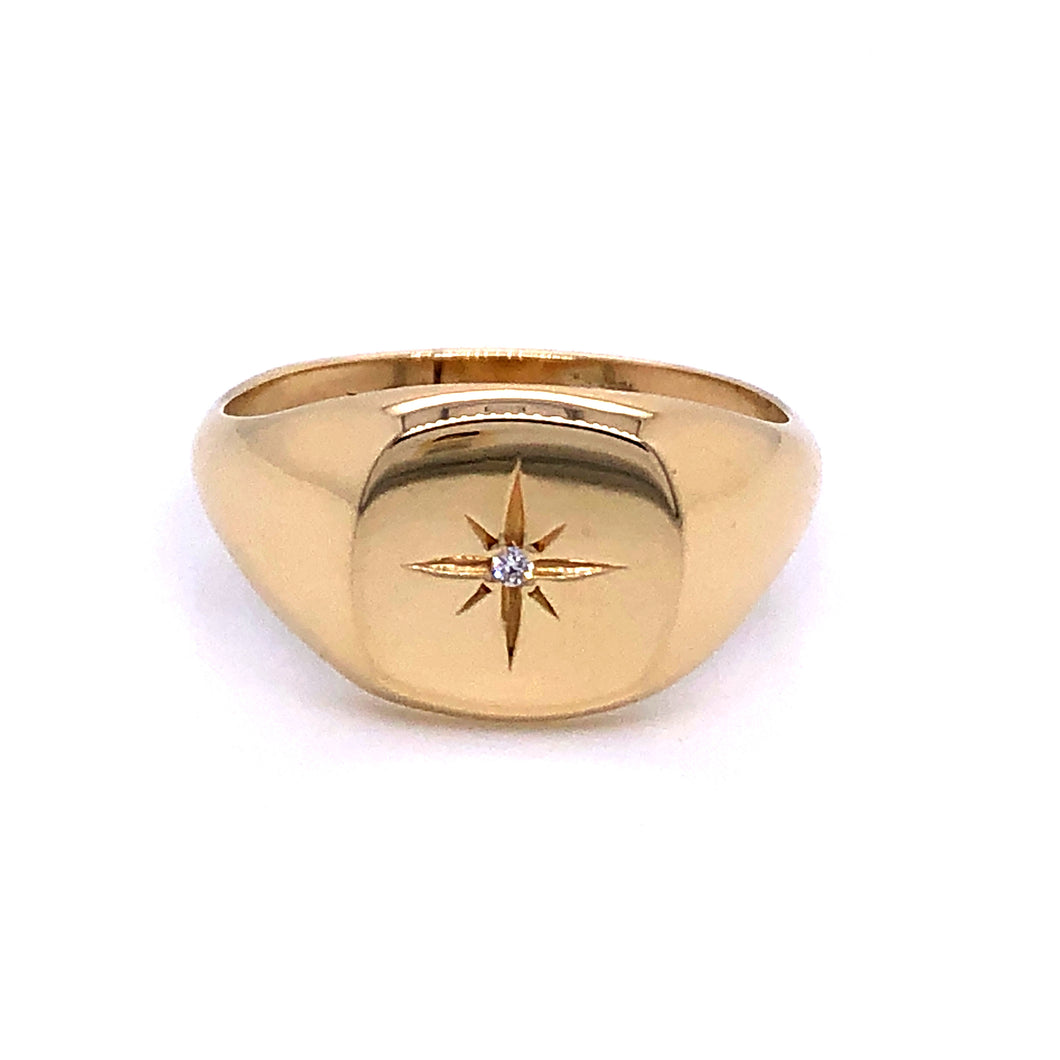 Anma 14ct Gold Square Signet With Diamond