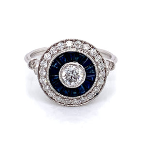 SAPPHIRE & DIAMOND 18CT WHITE GOLD TARGET RING