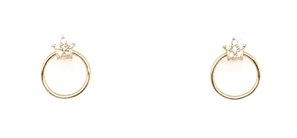 9ct Gold Open Circle Star Stud Earrings