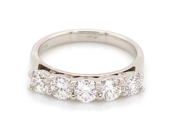 Platinum 1.23ct Five Stone Diamond Eternity Ring