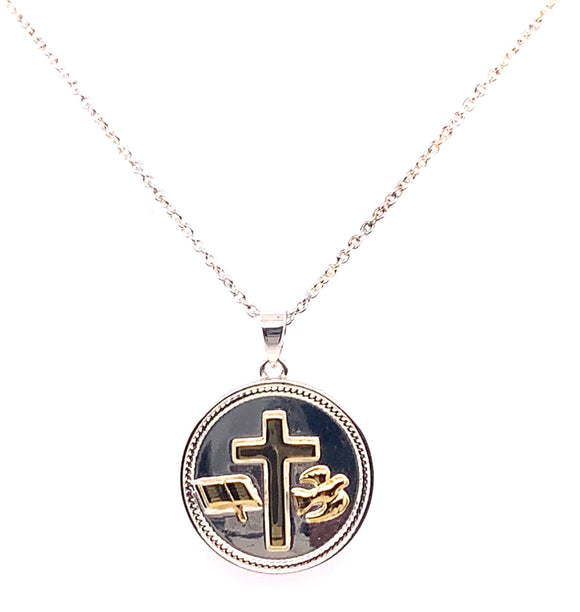 Newbridge Two Tone First Confirmation Round Pendant
