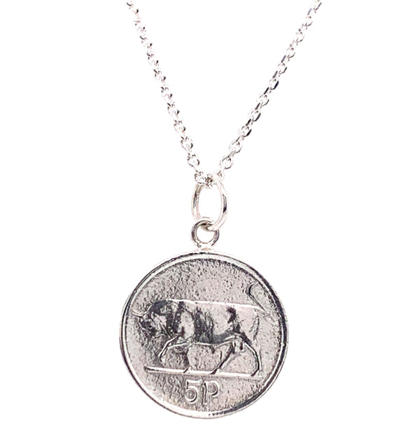 Tadgh Óg Solid Sterling Silver Bull Irish Coin Pendant