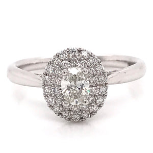 Oval double halo 0.55ct Diamond Engagement Ring