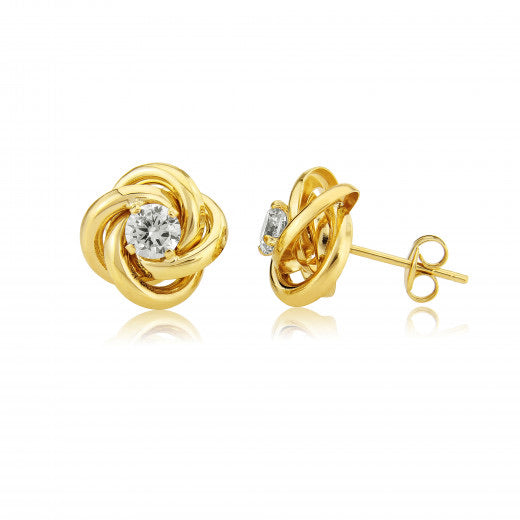 9ct Yellow Gold Knot Cubic Zirconia Earrings