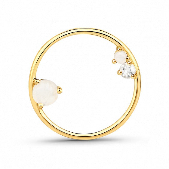 Lav'z Stardust maxi Circle earring with moonstone and topaz sdea06rbmwtgp