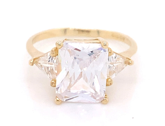 9ct Yellow Gold Emerald Cut Cz With Side Trillion Cut Stones