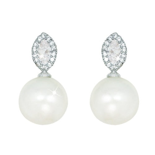 Tipperary Crystal Silver Pearl Earrings With Clear Stone