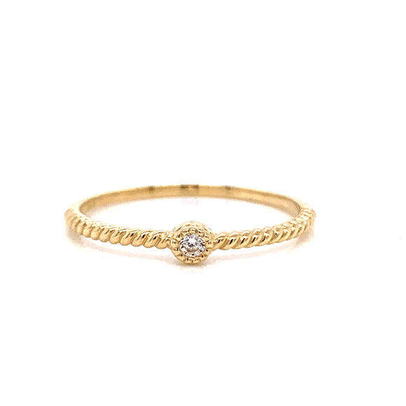 9ct Gold Dainty Twisted Band With Cz Centre