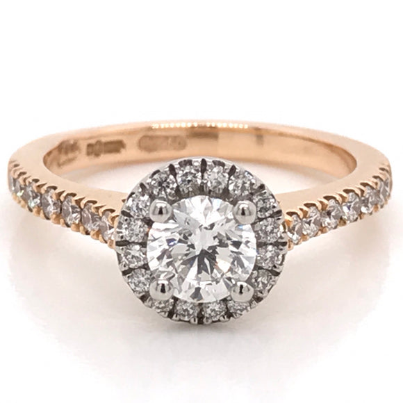 Round Brilliant cut with a Halo on a Rose Gold Diamond Engagement Ring
