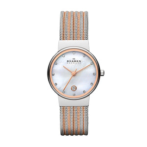 Skagen Mother of Pearl Dial Two-Tone Rose/Silver Mesh Ladies Watch 355SSRS
