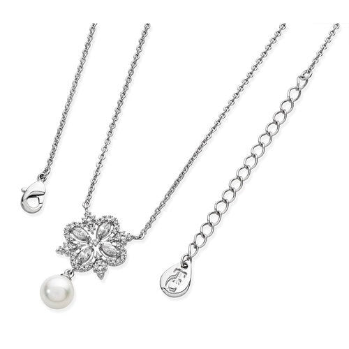 Tipperary Crystal Silver Ornamental Cz Drop Pearl Pendant