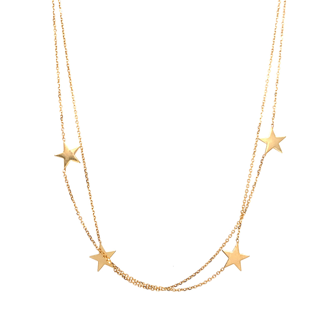 9ct Gold Double Strand Star Fine Necklace