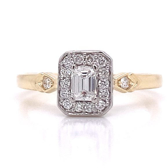 Emerald Cut Diamond Halo With Side Detail Gold
