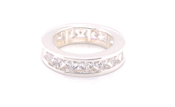 Sterling Silver Full Set Square Cz Ring