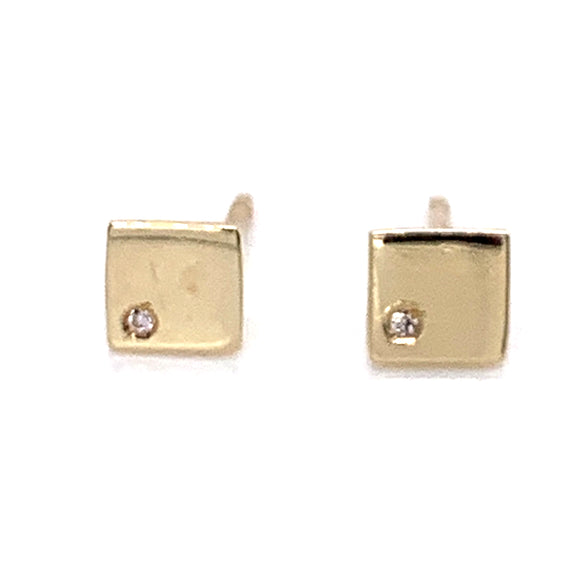 Petite 9ct Square earrings set with Diamond
