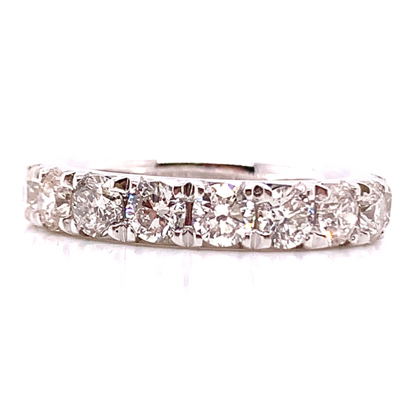 Platinum Castle Set Diamond Wedding Band