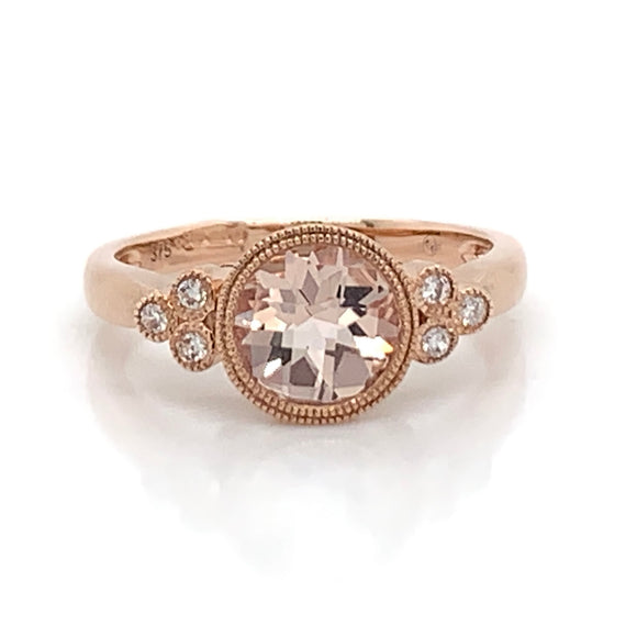 9ct Rose Gold Morganite with Diamond side trio