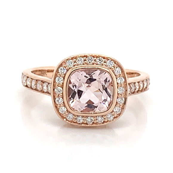 9ct Rose Gold Cushion Cut Morganite with Diamond Halo