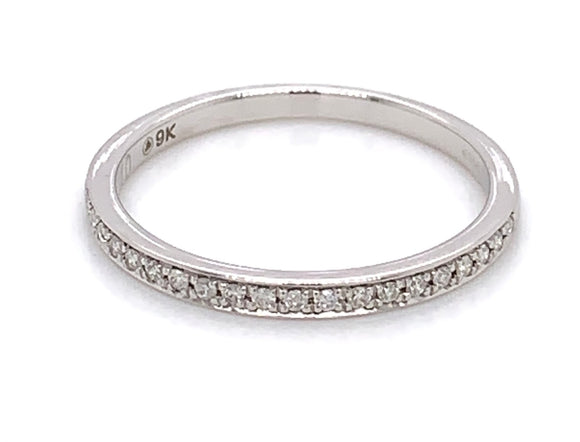 9ct White Gold Pave set Diamond Band