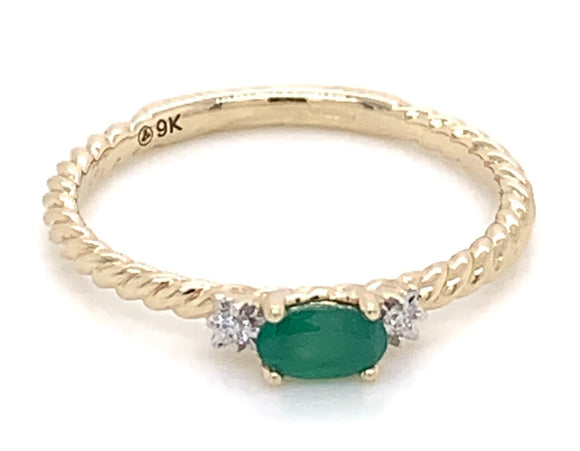 9ct Yellow Gold, Emerald and Diamond
