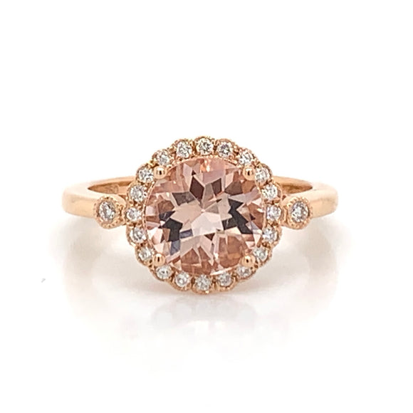 18ct Rose Gold Morganite & Diamond Ring with Accent Stones