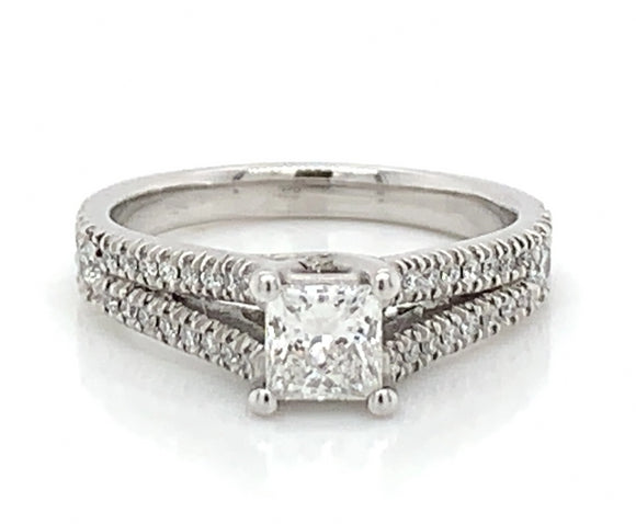 Platinum Princess Cut Split Shank Ring