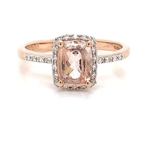 Cushion Morganite with Diamond Halo