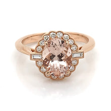 Load image into Gallery viewer, 18ct Rose Gold Morganite and Diamond Oval Halo Ring