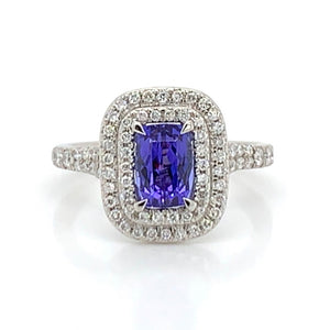 Tanzanite & Diamond Platinum Double Halo