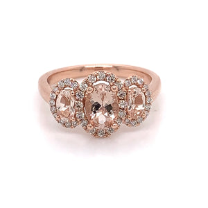 MORGANITE & DIAMOND HALO TRIO
