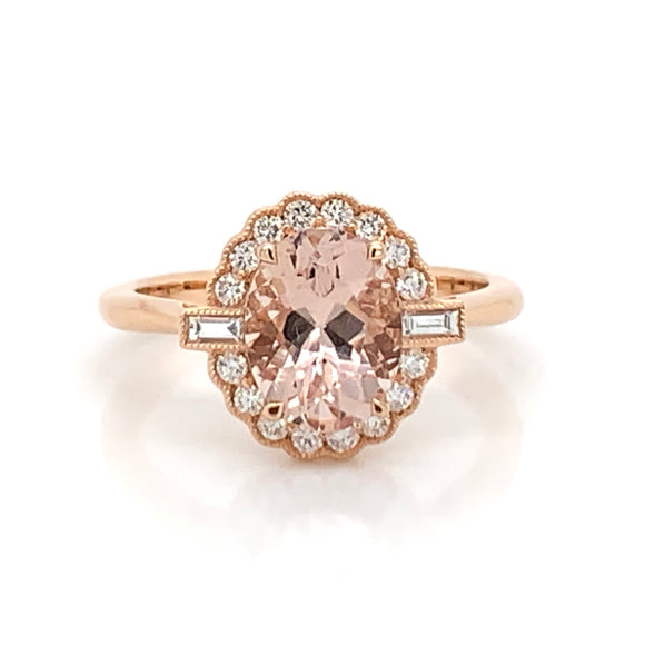 18ct Rose Gold Morganite and Diamond Oval Halo Ring