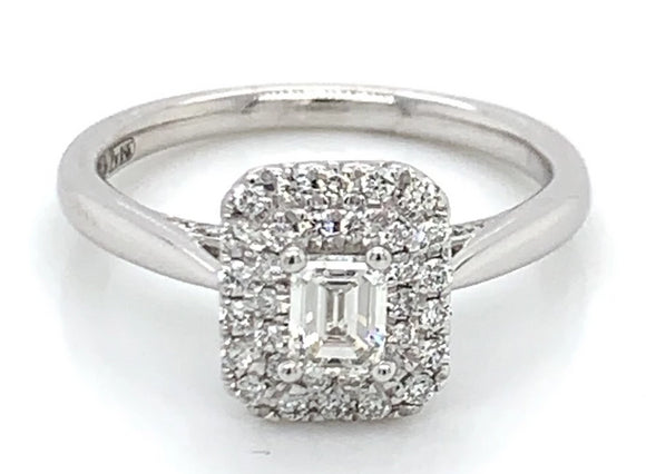 Emerald Cut Double Halo with side setting
