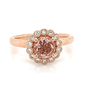 9ct Rose Gold Morganite Rose Gold Ring with Mill-grain Diamond Halo