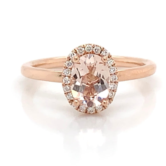 Oval Morganite Diamond Halo Ring