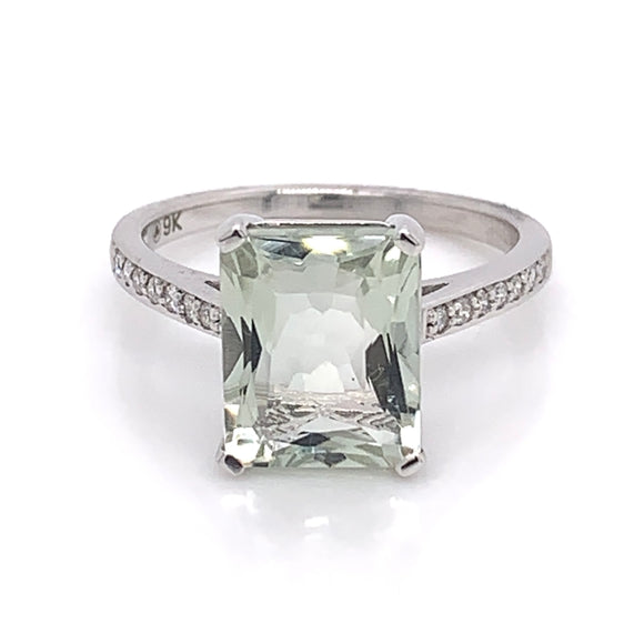 9ct White Gold , Green Amethyst and Diamond