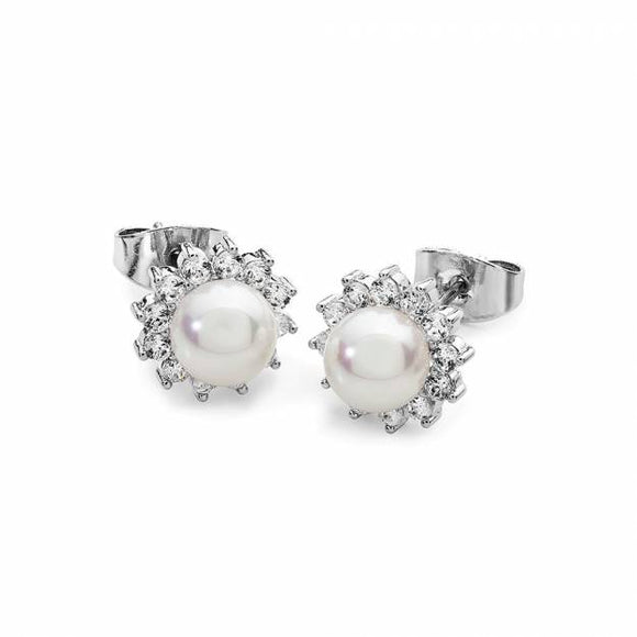 Tipperary Crystal Silver Antique Daisy Pearl Stud Earrings 117815